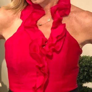 Whbm ruffled neck silk top